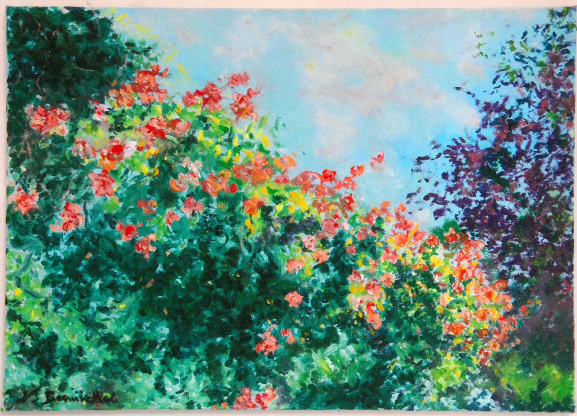 BEAUVALLET Nicole- Cascade de roses-Huile sur toile- 33x46cm