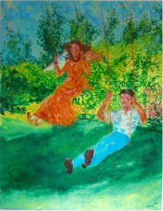 BEAUVALLET Nicole- Escarpolettes au Hardin de Lucienne(Pont saint maxence)-huile toile- 146x114 cm